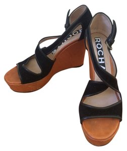 Rochas Suede Wedge Sexy Classic black Wedges