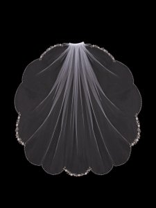 EnVogue Bridal Ivory Elbow Length Wedding Veil With Beaded Embroidery