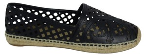 Tory Burch Beacher Beacher Espadrilles Trached Logo Black Flats