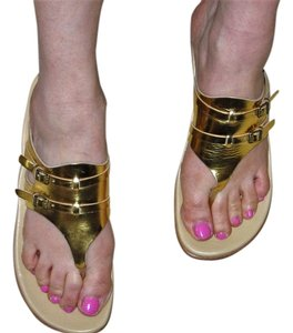 Kork-Ease Size 8 Leather Gold Sandals