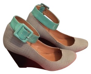 Mix No. 6 Fabric Wedge Pop Of Color Fun Black/White Striped, Aqua Ankle Strap Wedges