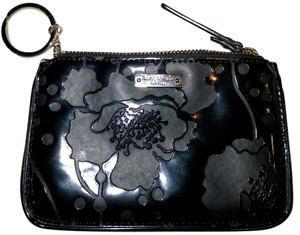 Kate Spade Keychain Wallet Top Zipper Wristlet in Black Floral Pattern