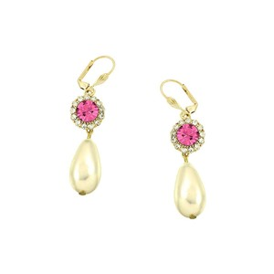 Elegant Pink Rhinestone Crystal Pearl Earrings For Bridesmaid