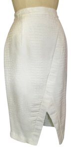 JLo Crocodile Pencil Skirt White