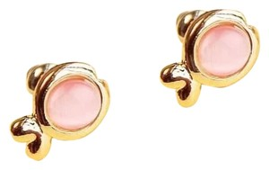 New 14K Gold Filled Fish Stud Earrings Pink Cat's Eye J2295