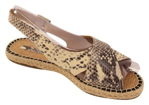 Pour La Victoire Leather Snake Embossed Open Toe Imported Snake Print Sandals