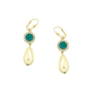 Elegant Teal Green Rhinestone Crystal Pearl Earrings For Brides Bridesmaid Mother Of The Bride