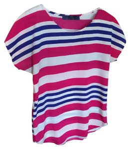 Francesca's Striped Top Blue, Pink and White