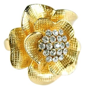 Other 3D Rose Swarovski Crystal Flower Ring - Gold