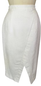 JLo Crocodile Pencil Animal Print Skirt White