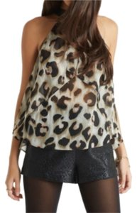 BCBGeneration Top Black/Leopard Print