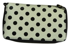 Halogen Wristlet in White with Black poka dots