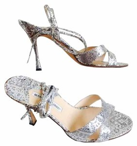 Manolo Blahnik Silver, grey and black Sandals