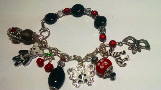 Other New Handmade Charm Bracelet Black White Red Zebra J407