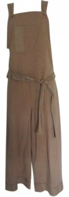 Womyn Jumper Overall Wide Leg Pants Tan