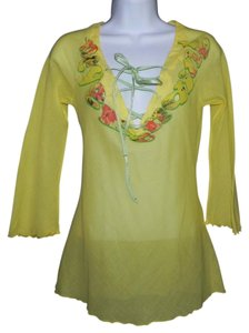 Miss Sixty Cotton Sheer Machine Washable Top Yellow