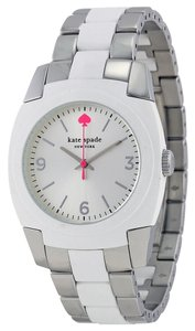 Kate Spade Kate Spade 1YRU0165 Skyline Silver SS White Polycarbonate Watch NEW