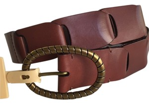 Ralph Lauren LAUREN Linked Smooth Leather Belt - M - Bridle Brown