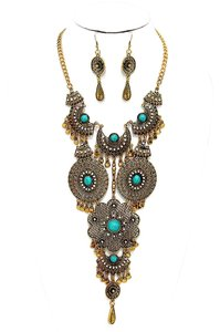 Boho Chic Antique Gold Turquoise Tribal Necklace Earrings
