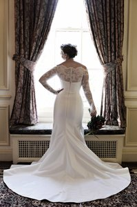 Romona Keveza Off The Shoulder Lace Sleeves Wedding Dress