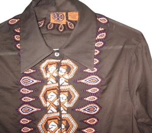 Tory Burch Top Brown, orange white purple embroidery