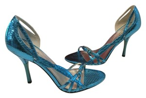 Guess By Marciano Stilettos Snake Pattern Medium blue embossed leather Sandals