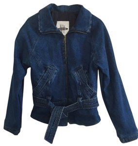 NY 10018 Belted Quilted Lining Blue Denim Womens Jean Jacket