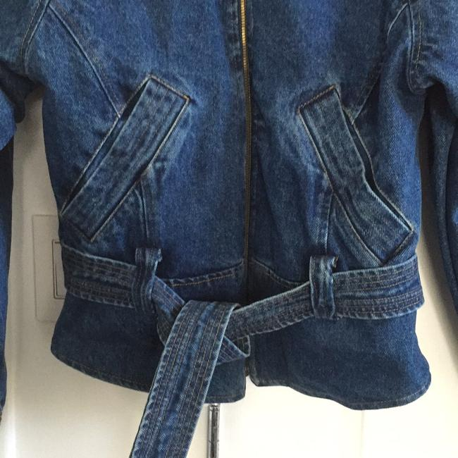 NY 10018 Belted Quilted Lining Blue Denim Womens Jean Jacket Image 1
