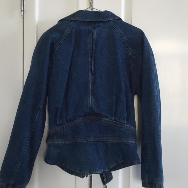NY 10018 Belted Quilted Lining Blue Denim Womens Jean Jacket Image 2