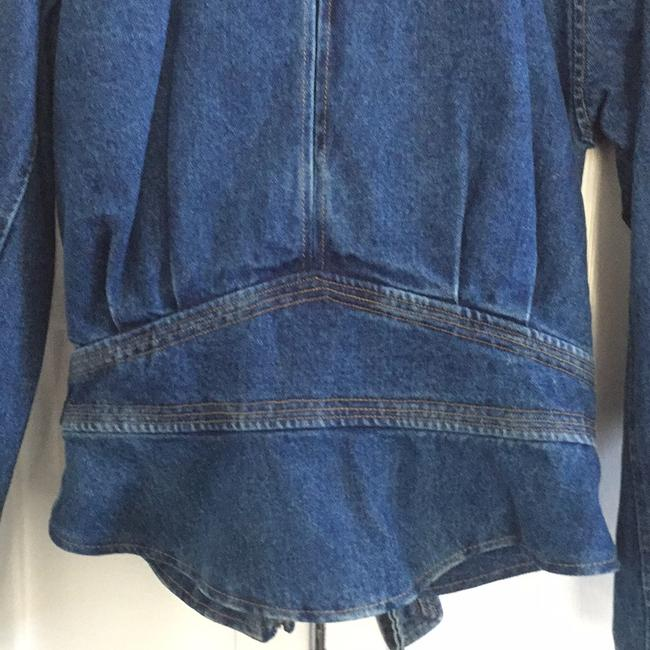 NY 10018 Belted Quilted Lining Blue Denim Womens Jean Jacket Image 3