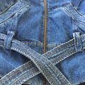 NY 10018 Belted Quilted Lining Blue Denim Womens Jean Jacket Image 4
