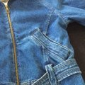 NY 10018 Belted Quilted Lining Blue Denim Womens Jean Jacket Image 6