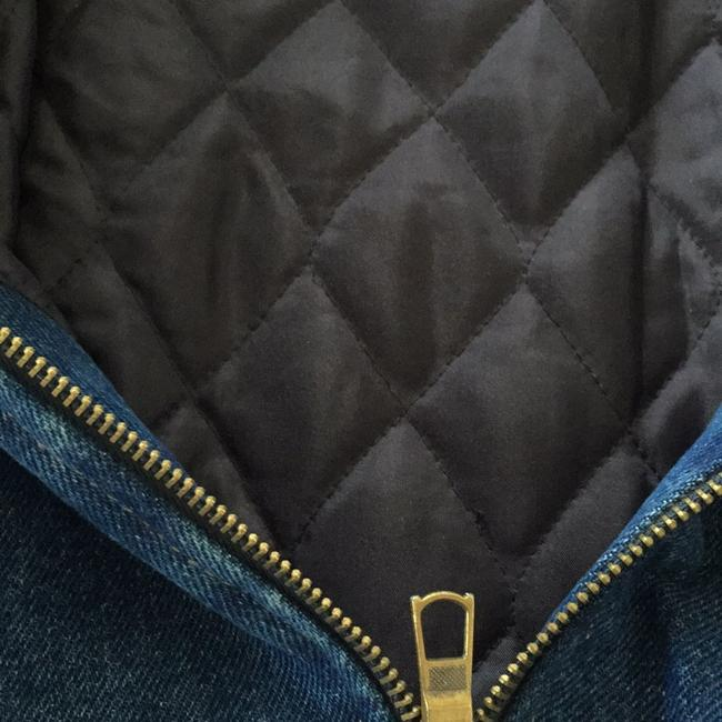 NY 10018 Belted Quilted Lining Blue Denim Womens Jean Jacket Image 8