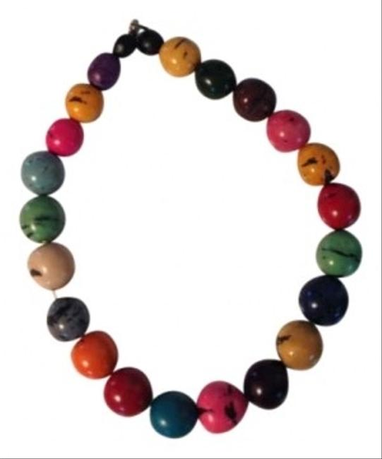Multicolored Wooden Beaded Necklace Multicolored Wooden Beaded Necklace Image 1