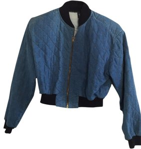 Switch Bomber Quilted Blue Denim Womens Jean Jacket