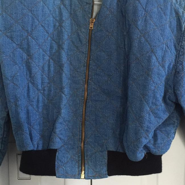 Switch Bomber Quilted Blue Denim Womens Jean Jacket Image 1