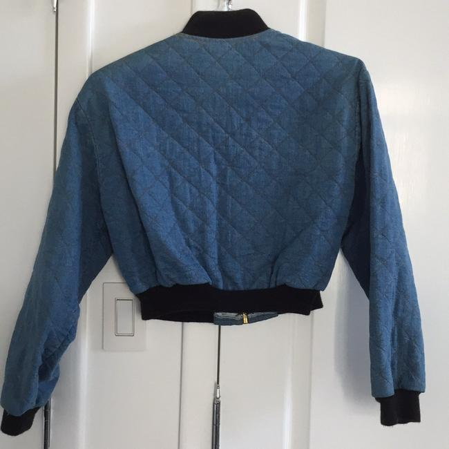 Switch Bomber Quilted Blue Denim Womens Jean Jacket Image 3