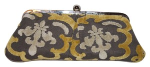Glenda Gies Grey, Yellow and Cream with Silver Findings Clutch
