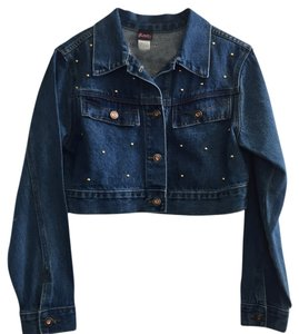 Frederick's of Hollywood Blue denim with studs and sequins Womens Jean Jacket