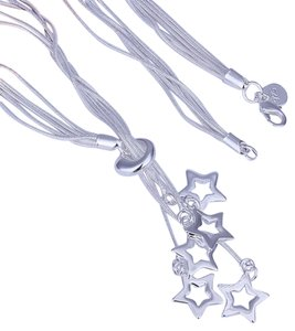 New Elegant 925 Sterling Silver 5 Star Charms Necklace