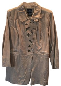 Dennis Basso Taupe Leather Jacket
