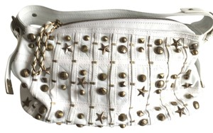 Betsey Johnson Studded Stars Embellished Satchel in White