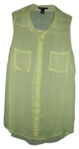 Forever 21 Sheer Spring Sleeveless Striped Blouse Button Down Shirt Yellow