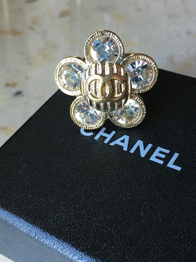 Chanel Chanel Classic CC Crystal Flower Camellia Ring Image 1