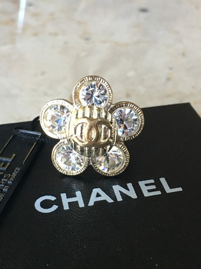 Chanel Chanel Classic CC Crystal Flower Camellia Ring Image 7