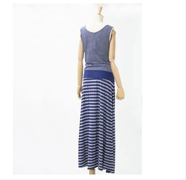 Navy Maxi Dress by Three Dots Maxi Mermaid Summer Striped Bold Drop Waist Flowy Sleeveless Full Length Print Party Panel Boyfriend