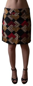 Ann Taylor LOFT Petite Vintage Style 1960s Skirt mustard yellow, black, red, oxblood and white