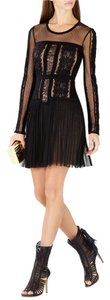 BCBGMAXAZRIA Lace Tulle Pleated Skirt Dress
