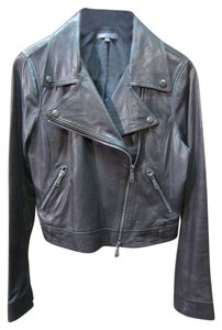 Vince Moto Leather Distressed Cropped Motorcycle Jacket