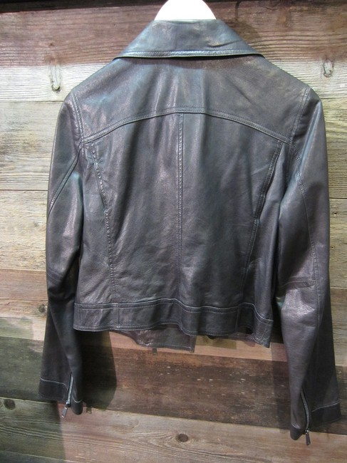 Vince Moto Leather Distressed Cropped Motorcycle Jacket Image 1